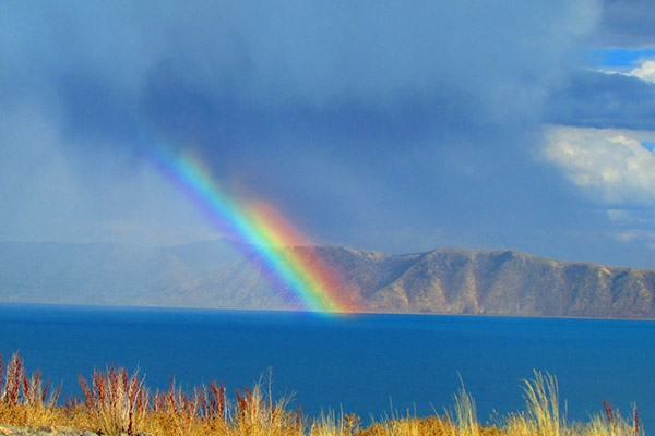 Rainbow over Bear Lake in Rich County Utah